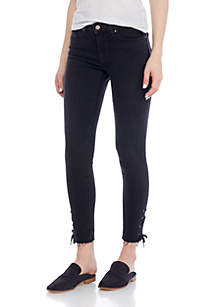 711 Lace-Up Skinny Street Flair Jeans