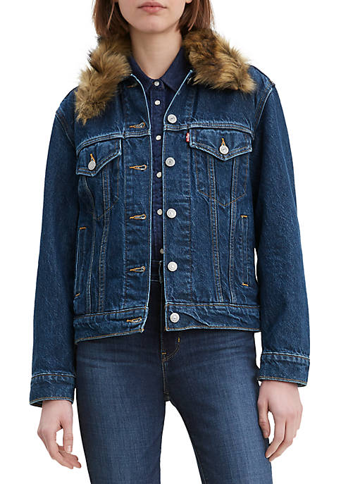 Ex Boyfriend Fur Collar Short Stack Trucker Jacket