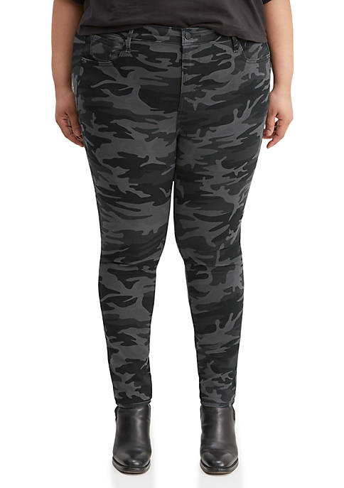 Plus Size 721 Black Camo High Rise Skinny Jeans
