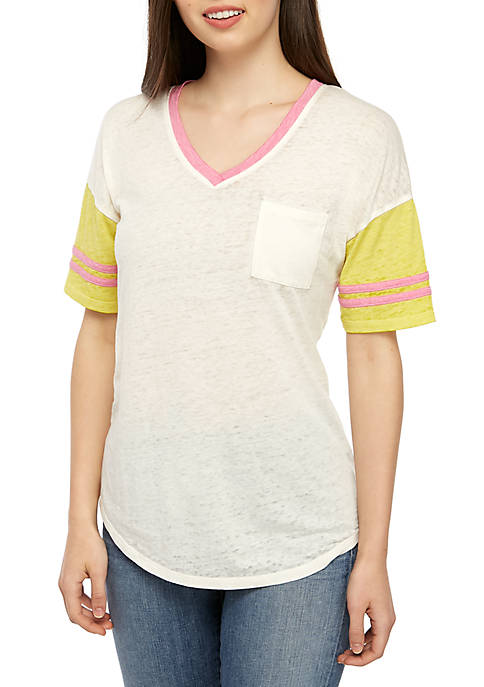 TRUE CRAFT Juniors Short Sleeve Burnout Varsity T-Shirt