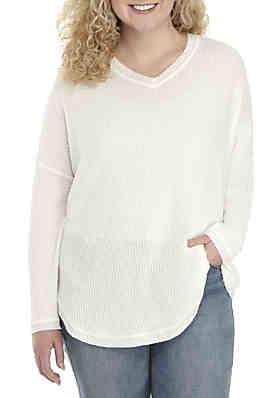 481f4471aff99 TRUE CRAFT Plus Size V-Neck Thermal Sweatshirt ...