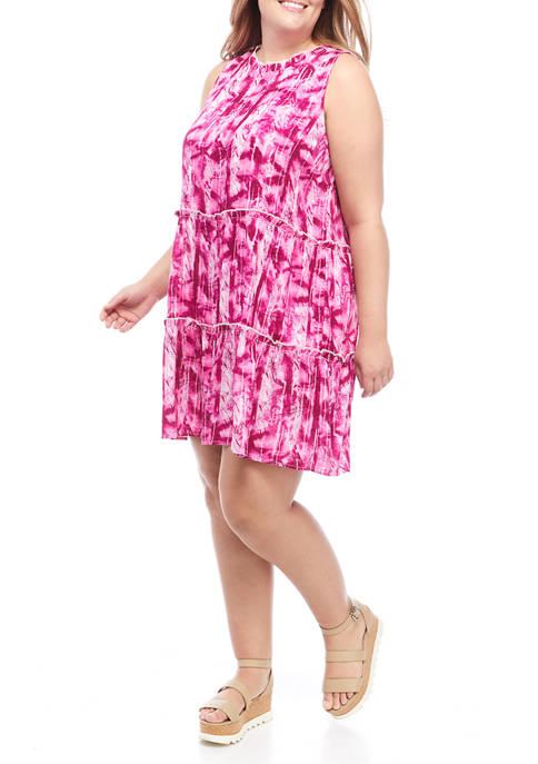 Plus Size Sleeveless Tiered Flowy Dress