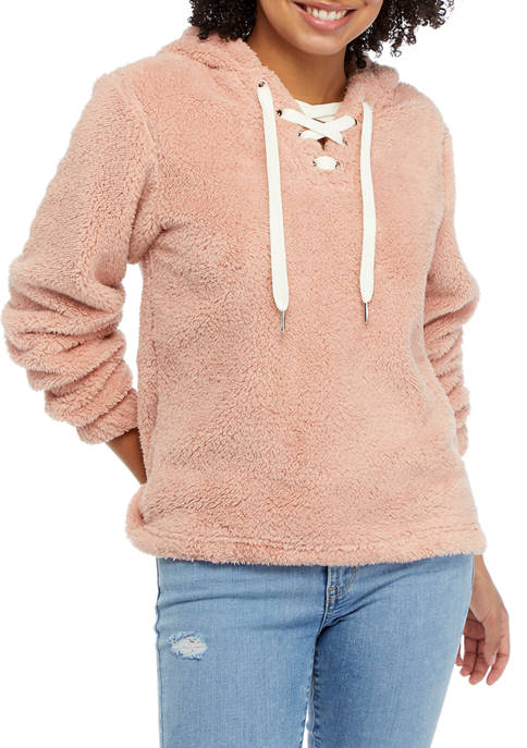 Soft Shop Lace Up Sherpa Hoodie