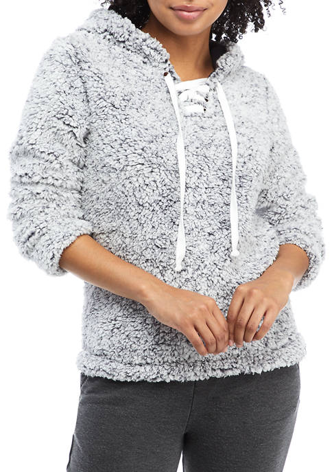 Soft Shop Lace Up Sherpa Pullover