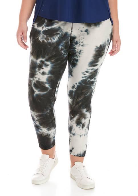 Plus Size  Soft Shop Tie Dye Pull On Pocket Leggings