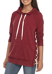 Lace-Up Side Hoodie