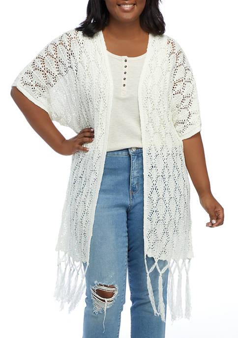 Plus Size Open Front Crochet Completer Cardigan