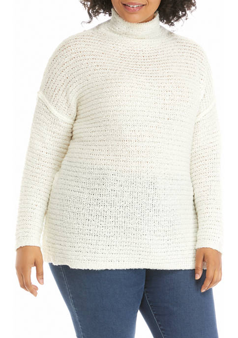 TRUE CRAFT Plus Size Acrylic Cowl Neck Tunic
