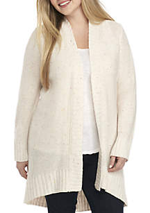 Plus Size Lace-Up Back Cardigan