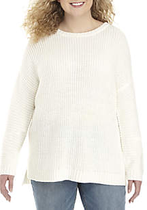 Plus Size High-Low Crew Neck Sweater