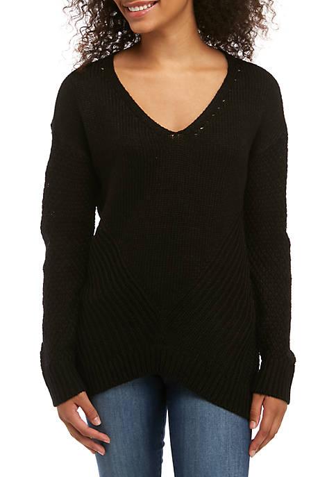 Mixed Stitch V-Neck Sweater