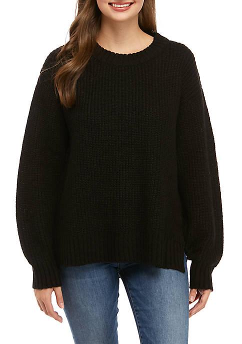 Step Hem Crew Neck Sweater
