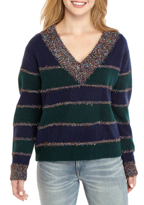 TRUE CRAFT Juniors Striped V-Neck Sweater
