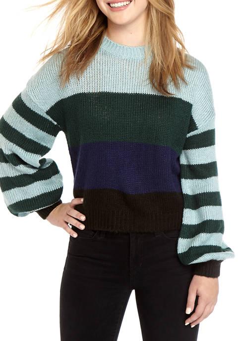 Striped Sleeve Crew Sweater