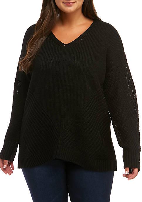 Plus Size Mixed Stitch V-Neck Sweater