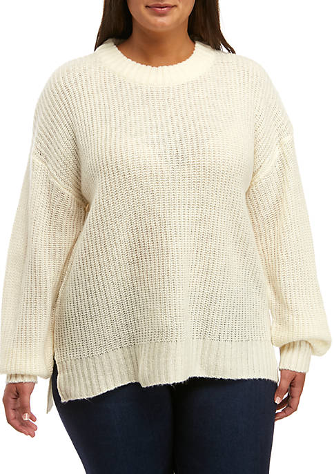 Plus Size Step Hem Crew Neck Sweater