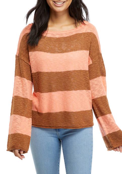 Long Sleeve Wide Neck Striped Sweater