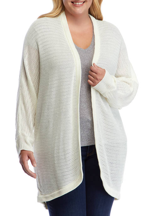 Plus Size Long Sleeve Open Front Cardigan