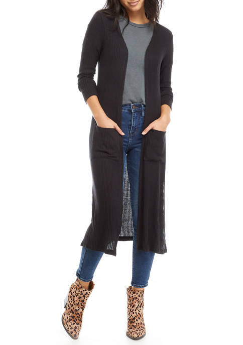 Derek Heart Juniors Long Sleeve Rib Knit Duster
