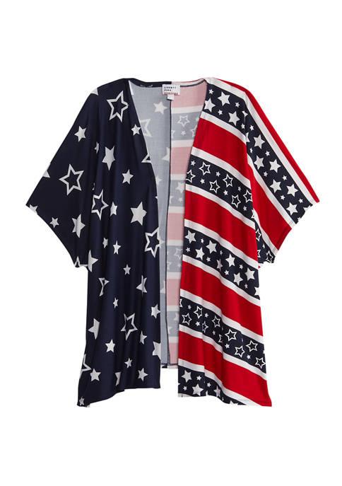 Liberty Park Womens Americana Kimono