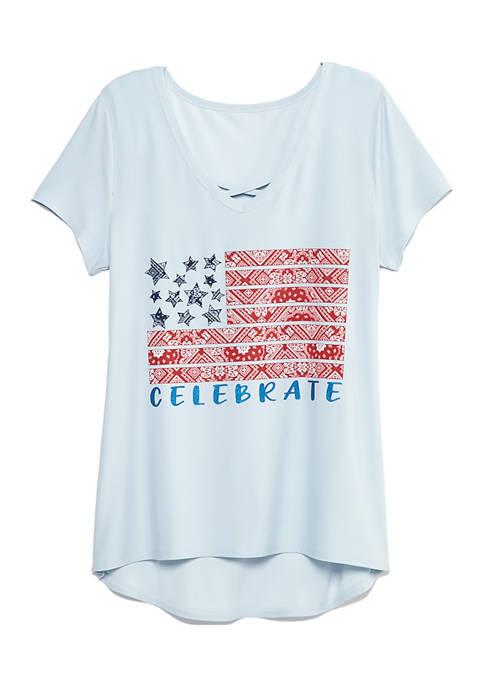 Womens Short Sleeve Glitter T-Shirt