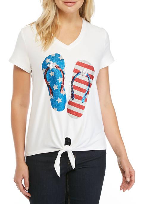 Liberty Park Womens Short Sleeve USA Graphic T-Shirt