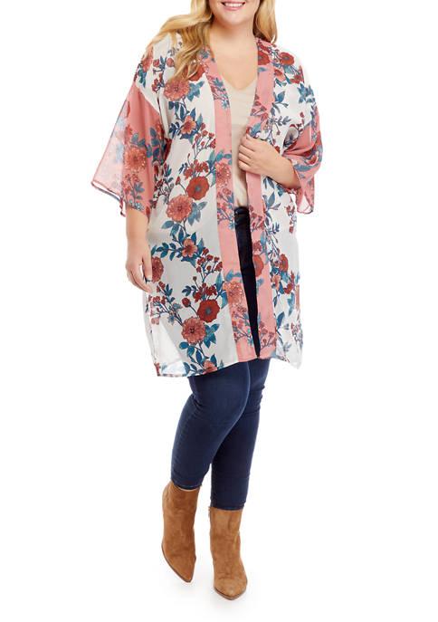 Derek Heart Plus Size Printed Kimono
