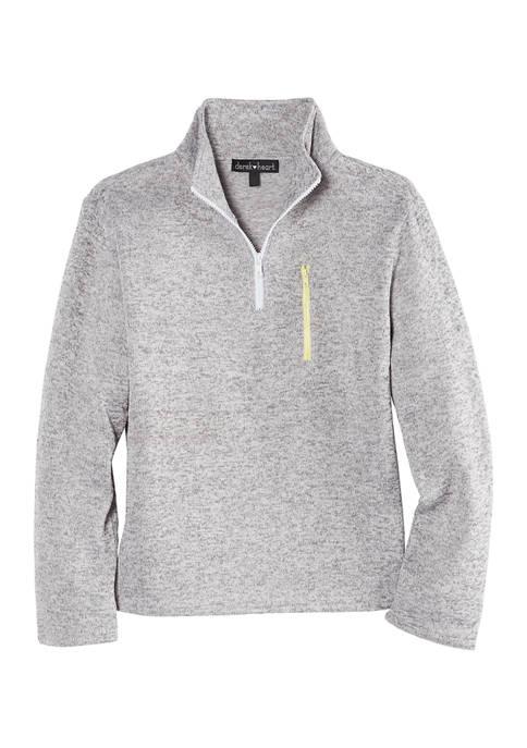 Juniors  Long Sleeve Mock Neck Quarter Zip Fleece Pullover