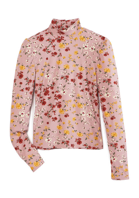 Derek Heart Juniors Long Sleeve Printed Turtleneck Sweater
