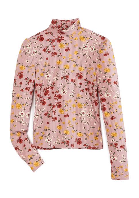 Juniors Long Sleeve Printed Turtleneck Sweater
