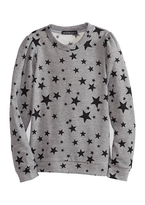 Juniors Long Sleeve Star Pullover