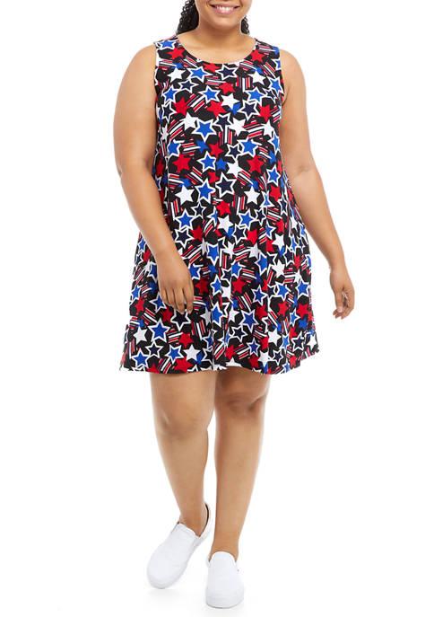 Plus Size Sleeveless Stars Dress