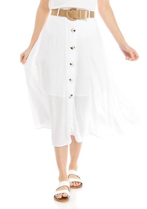 Womens Solid Button Front Belted Skirt
