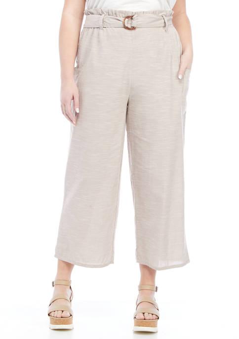 Plus Size Paper Bag Ankle Pants