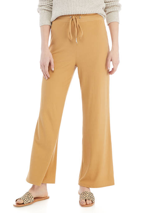 Derek Heart Juniors Rib Knit Wide Leg Pants