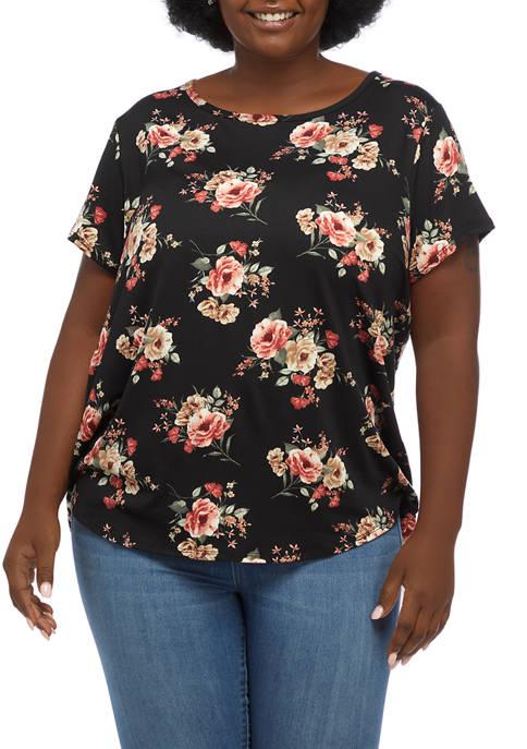 Aveto Plus Size Short Sleeve Peached T-Shirt