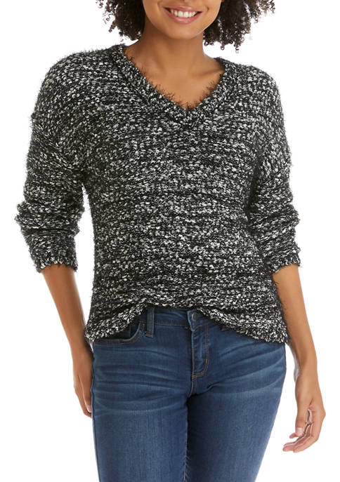 Juniors V-Neck Popcorn Sweater