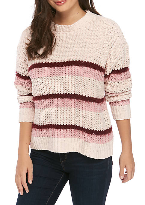 Juniors Color Block Chenille Sweater