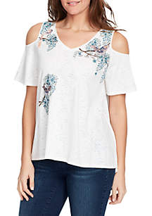 Macie Cold-Shoulder Embroidery Knit Top