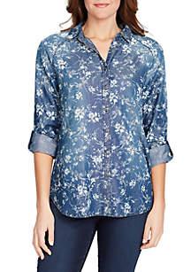 Bandolino Steffie Swirl Bouquet Printed Shirt