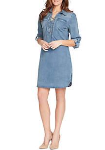 3/4 Sleeve Lace Up Denim Dress