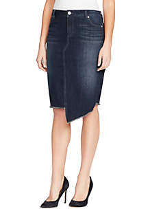 Denim Uneven Hem Skirt