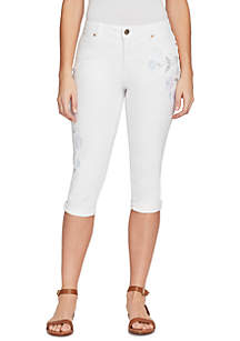 Petite White Embroidered Lisbeth Skimmers