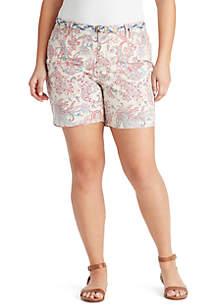 Plus Size Amalia Belted Paisley Print Shorts
