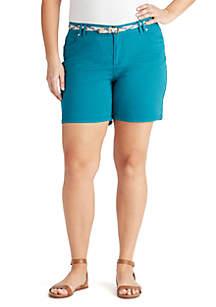 Plus Size Amalia Belted Solid Shorts