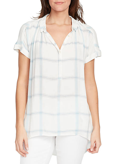Bandolino Bianca Gauze Plaid Top