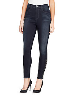 High Waisted Hook and Eye Calf Jeans