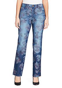 Mandie Printed Straight Short Jeans