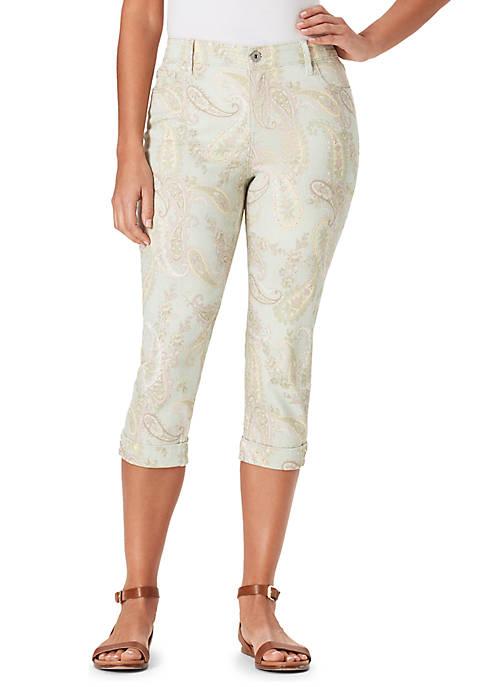 Bandolino Petite Mandie Side Lace Paisley Capri Pants