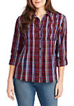Ariel Pleated Plaid Shirt